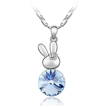 cute pendant jewelry made with swarovski element crystal baby rabbit lucky necklace