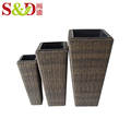 Eco-friendly modern artificial rattan garden pots for home garden