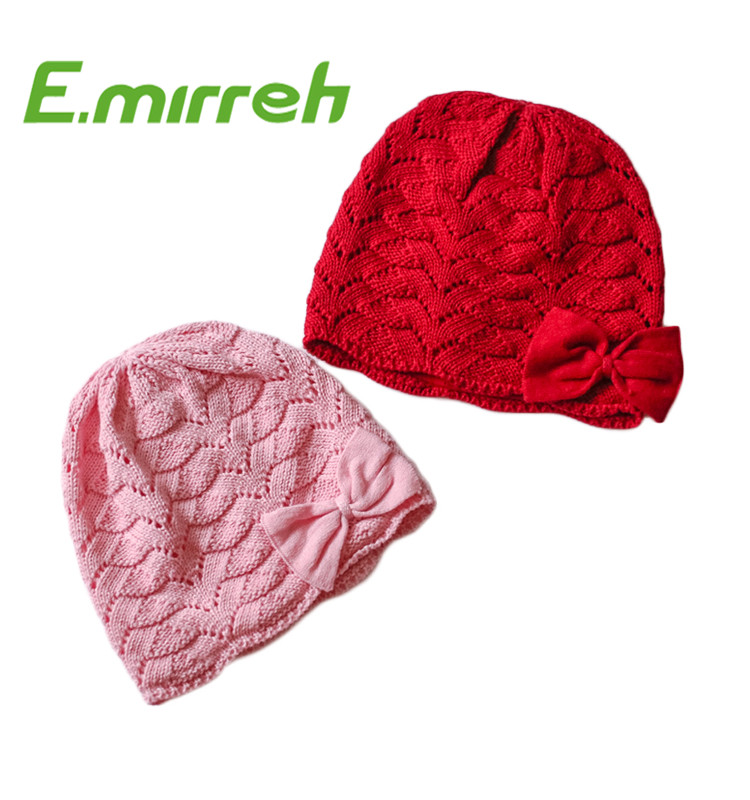 100% cotton double inside toddler infant crochet knitted beanie with bow
