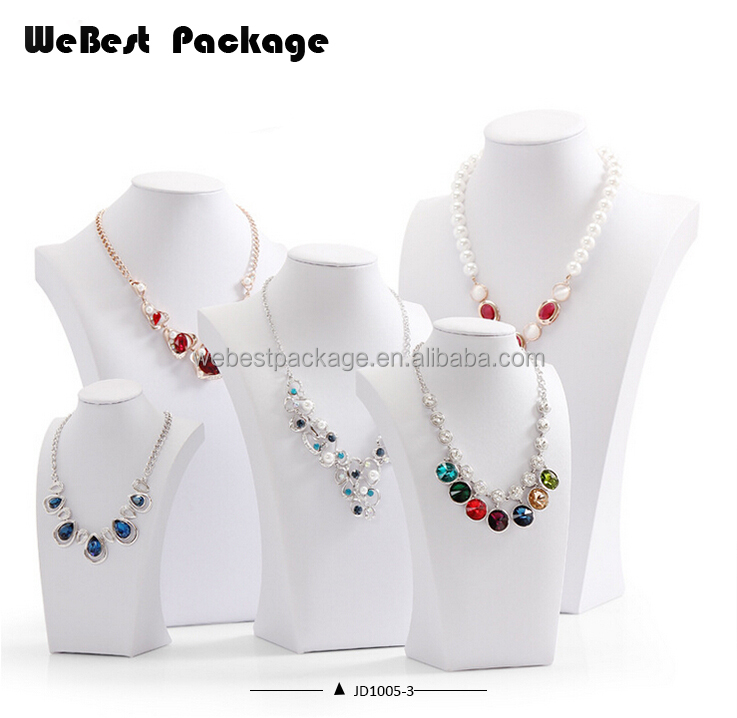Leatherette custom color resin necklace bust for jewelry exhibition stand
