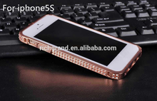 wholesale fancy Bling Diamond decoration Metal Bumper Case Cover for iPhone 5S