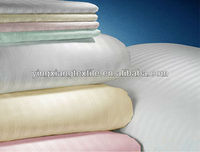 closed selvedge CVC 50/50 235T 2cm satin stripe bed sheeting fabric, cotton sateen fabric