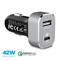 42W Power Drive + Type-C USB,Qualcomm quick charge 3.0 car charger,smart IC,for iPhone, iPad, Galaxy S7/S6/Edge/Plus