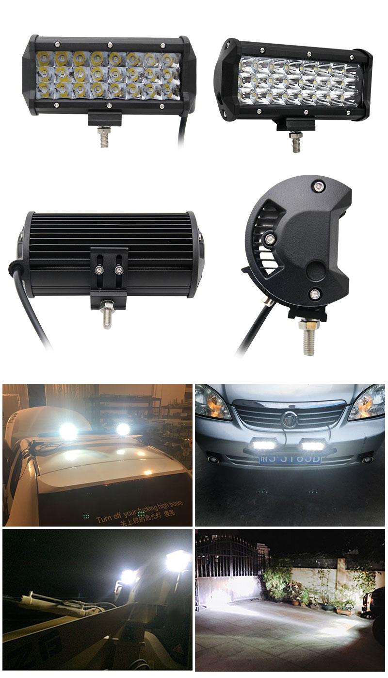 Wholesale Auto Parts 6.5inch Combo Beam High Power 72W Fog Driving Light, 3 Row Car Bumper Led Light Bar