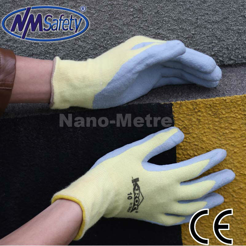 NMSAFETY grey nitrile coated gloves print nylon gloves nitrile