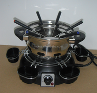 Stainless steel fondue set with 6pcs sauce cup, electric cheese stainless steel fondue set, chocolate fondue
