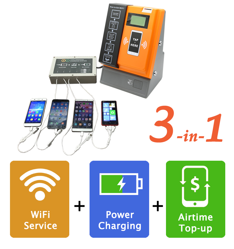 New Product 3-in-1 Smart Phone Power Charging WiFi Coin Vending Machine for Small Business