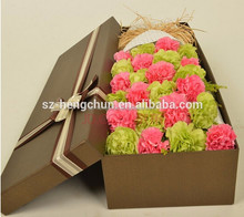 Cusomise rectangle flower gift box with clients logo