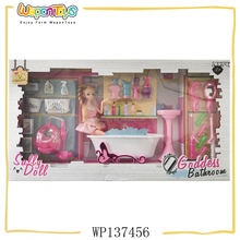 popular design 11 inch girl doll bathroom playset plastic dress up game for girls