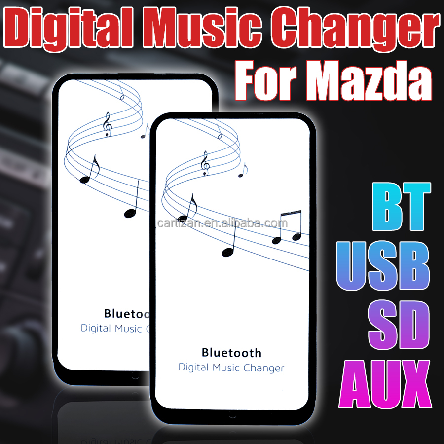 Car audio system digital music changer with Bluetooth USB SD AUX adapter for Mazda