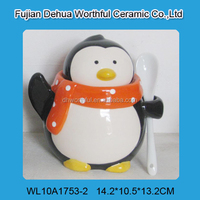 Creative ceramic penguin canister,ceramic tea canister with spoon