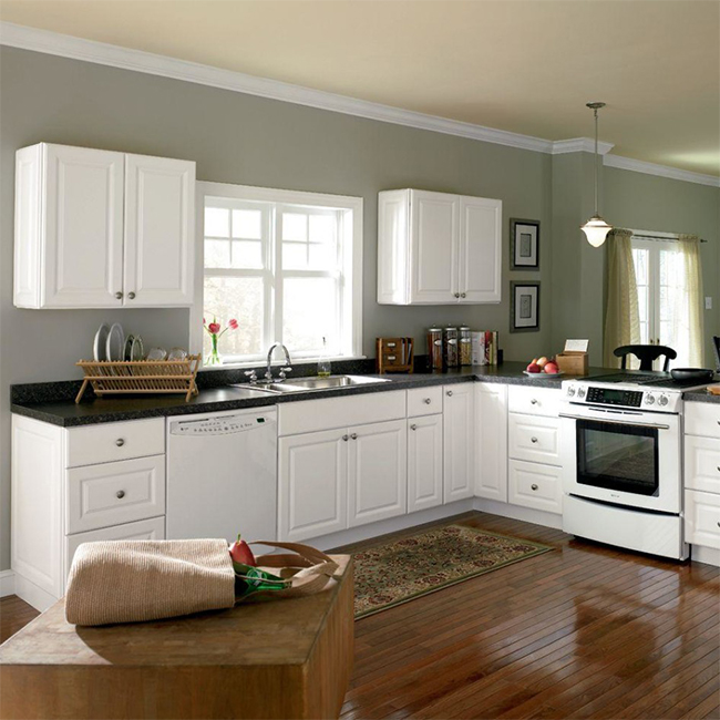 Country style high quality white free used kitchen cabinets fitted kitchens china kitchenette design picture