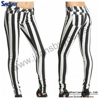 2014 new style fashion wholesale china hole sale Women Wide STRIPED SKINNY JEANS Black and White Denim Low Rise 5 Pocket Pants