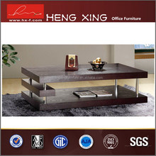 Rectangular glass ebony veneer coffee table