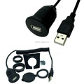 USB 2.0 Flush Mount Dash Coiled Cable for Car Boat Bike dashboard