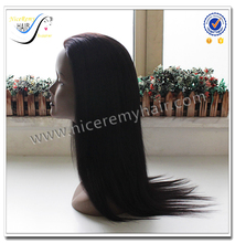 Wholesale natural black silky straight 100% virgin human hair integration wigs