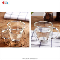 475ml High Borosilicate Heat-Resistant Double Wall Glass Coffee Cup Glass Coffee Mug with handle and saucer