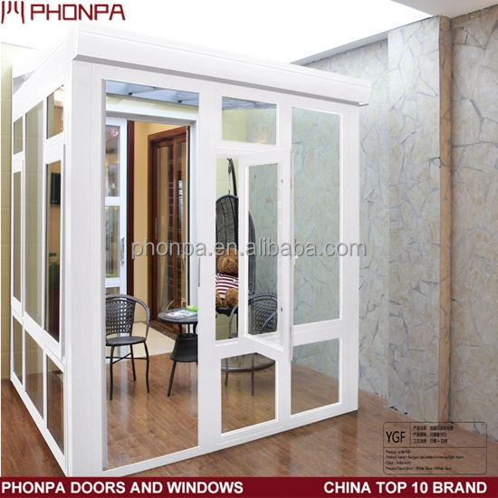 Power coating white color aluminum sunroom with door and window