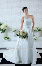 WY1313 2013 new One-shoulder lace Higth quality spanish bridal satin wedding gown
