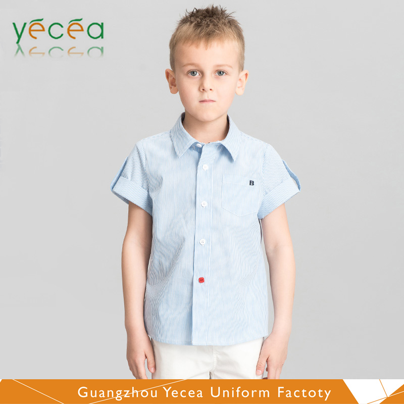 moisture wicking Gualeisure outdoor safari TC polyester/cotton Blank/stripe/Plaid Shirt for kids &child wholesale logo pringting