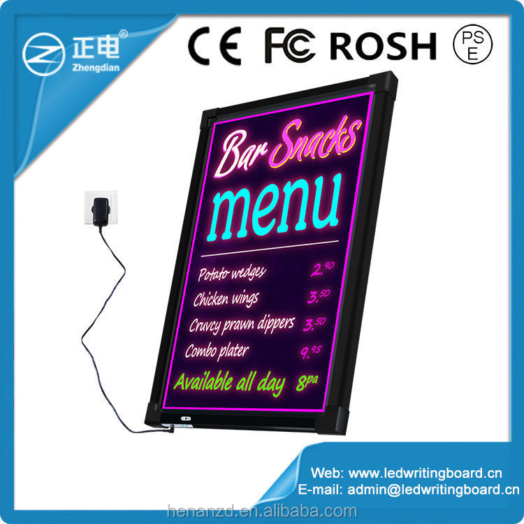 Hot sale Advertising displays flashing led menu board for restaurant attact business