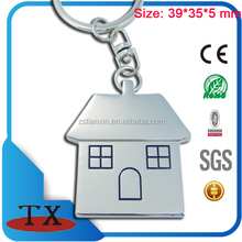 China wholesale house shape with two windows and door metal keychain