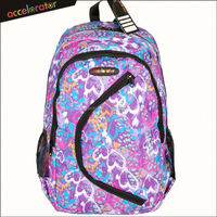 "600D heart pattern 18"" children backpack nylon bags fashion school bags"
