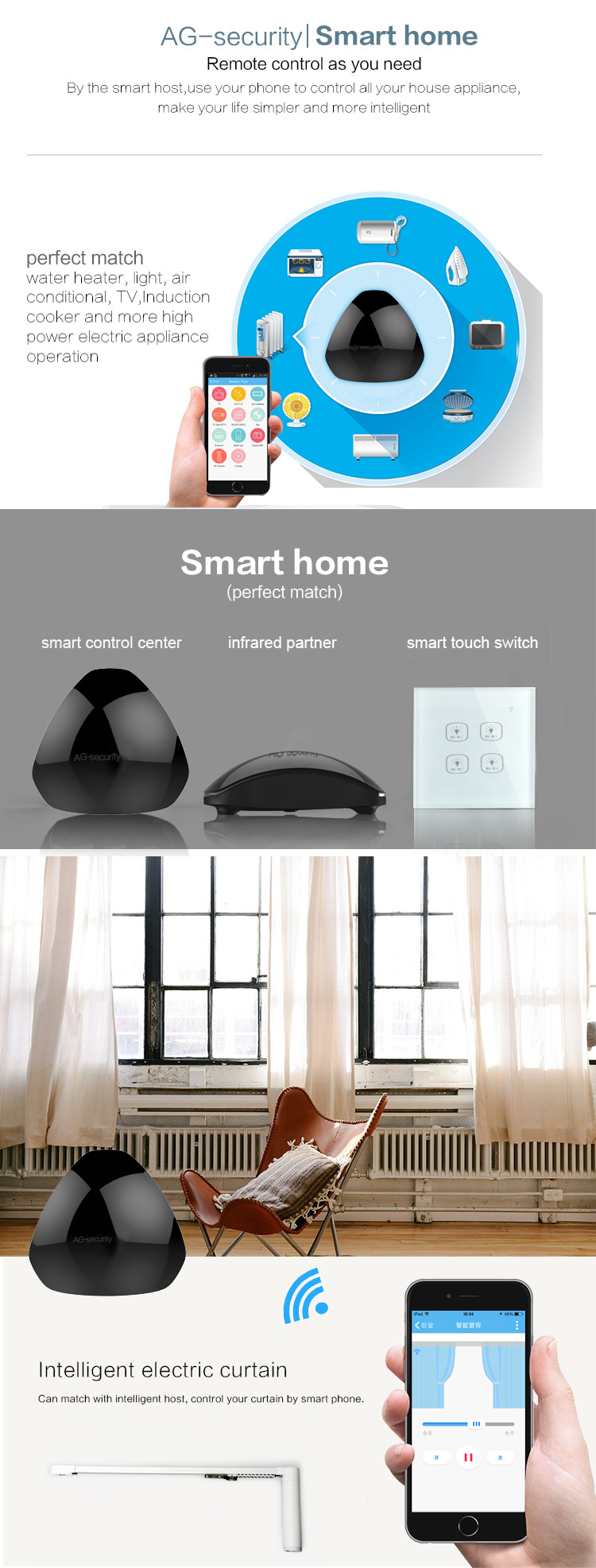 Universal Intelligent Remote Controller Smart Home Automation WIFI+ IR+ RF Switch Via IOS Android