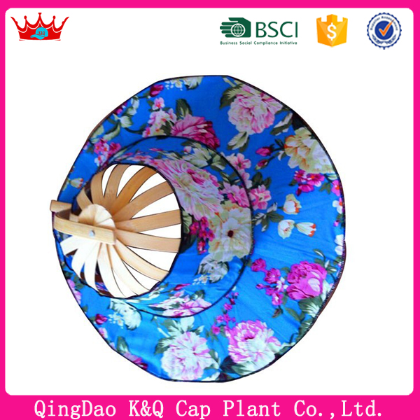OEM custom cheap beautiful bamboo folding fan hats
