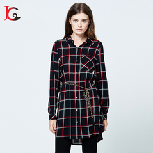 new coming fashion design plaid lady blouse long sleeve latest blouse back neck designs