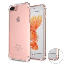 Shock Absorption TPU Bumper Cushion + Scratch Resistant Clear Protective Cases Hard Cover for Apple iPhone 7 Plus