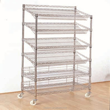 Slanting wire shelving with slience wheels Custom wire shelvings Industry wire shelving
