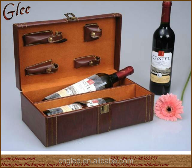 Leather 2 bottle wine gift boxes carrier for two bottles
