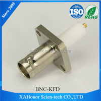 BNC female straight with 4 hole flange solder connector