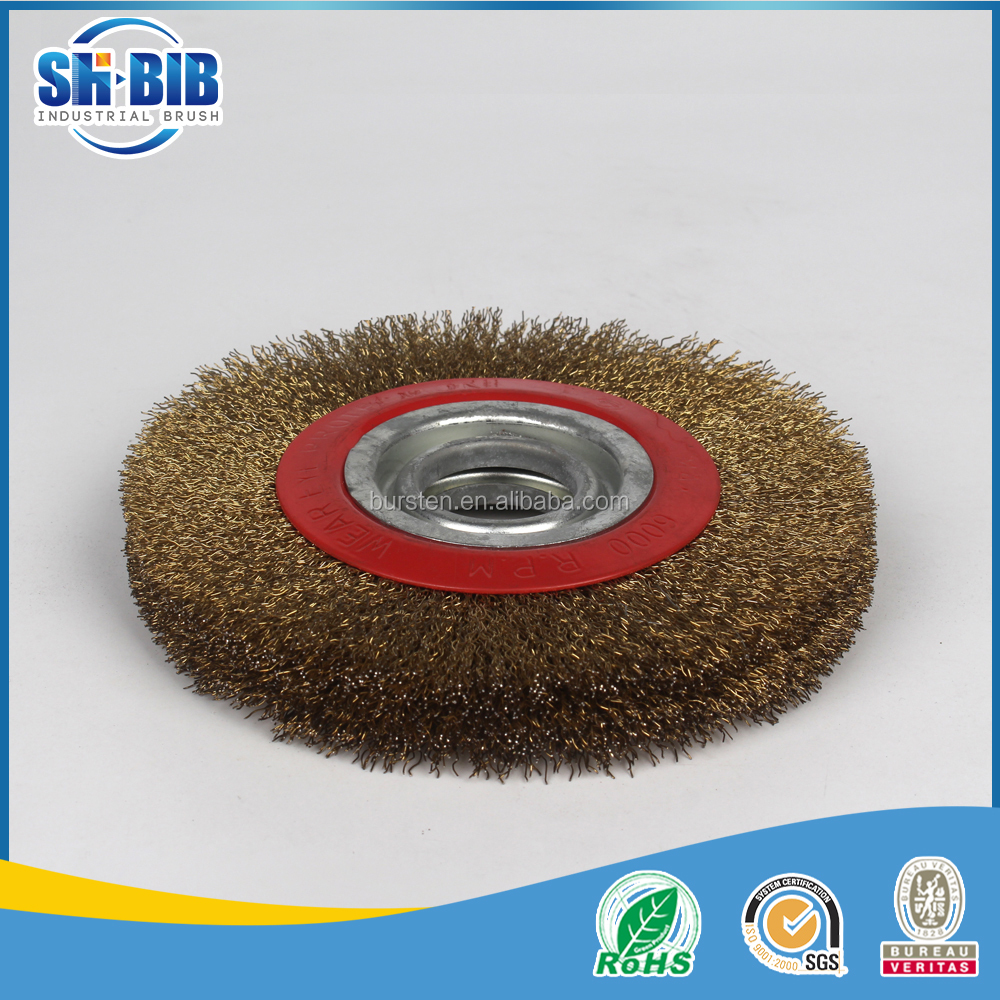 brass coated steel wire arbor hole wheel brush