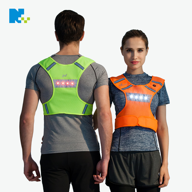 usb battery reflective led clothing cycling vest for men waterproof lighting