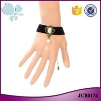 One dollar store cheapest price imitation pearl bead pendant black lace bracelet