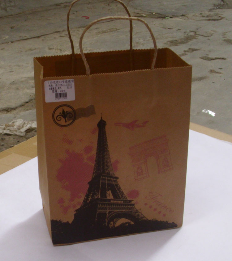 wholesale promotional kraft paper bag with clear window with clear window