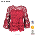 Ladies Spring Summer Autumn Elegant Lace Work wear Career Blouse and Tops for women