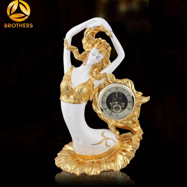 Home accessories decoration resin beauty lady statue with clock
