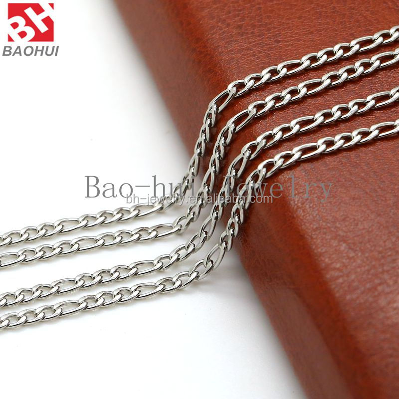 Hot Sale Fashion 2.85mm Width 46-81cm Silver/ Gold/ Rose Gold Stainless Steel Chunky Long Chain Necklace For Glass Locket