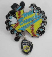 metal baseball trading pins, glitter dangler baseball trading pin with pendant
