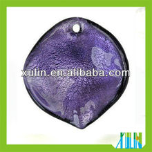 2013 newest purple leaf shaped dichroic beads pendants