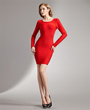 Sexy Ladies Backless long sleeve red evening western mermaid dress