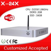 low power useful XCY mini computer x-24x AtomD2500 dual core pc 2g ram 16g ssd build-in-wifi win7 office tablet pc