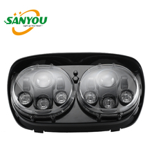 90w led double headlight 6400lm black motorcycle headlamps for harley road glide