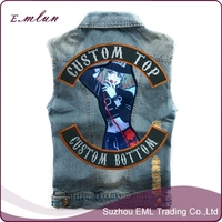 Customized denim jacket with embroidery Patches Leather motocycle vest for biker
