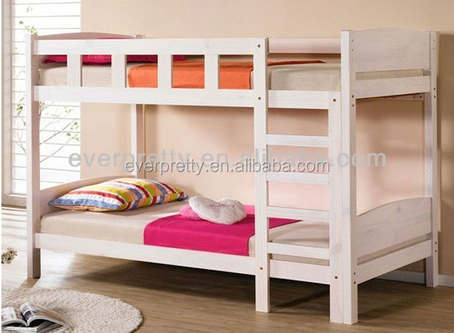 Modern white lacquer children bedroom furniture wood double bed design with box set
