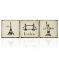 Wall Art London Tower Liberty Statue Retro Wall Picture for Home Decor Paris Effiel Tower Poster Home Decor 3PCS/SET