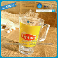 Market hot product handled tea cup with imprint lipton red tea glass cup mug glass personal advertised printing glassware